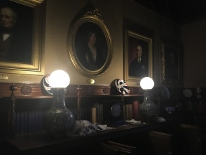 First electrical lamps in the library at Cragside House